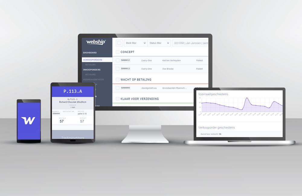Webship web applicatie op verschillende toestellen