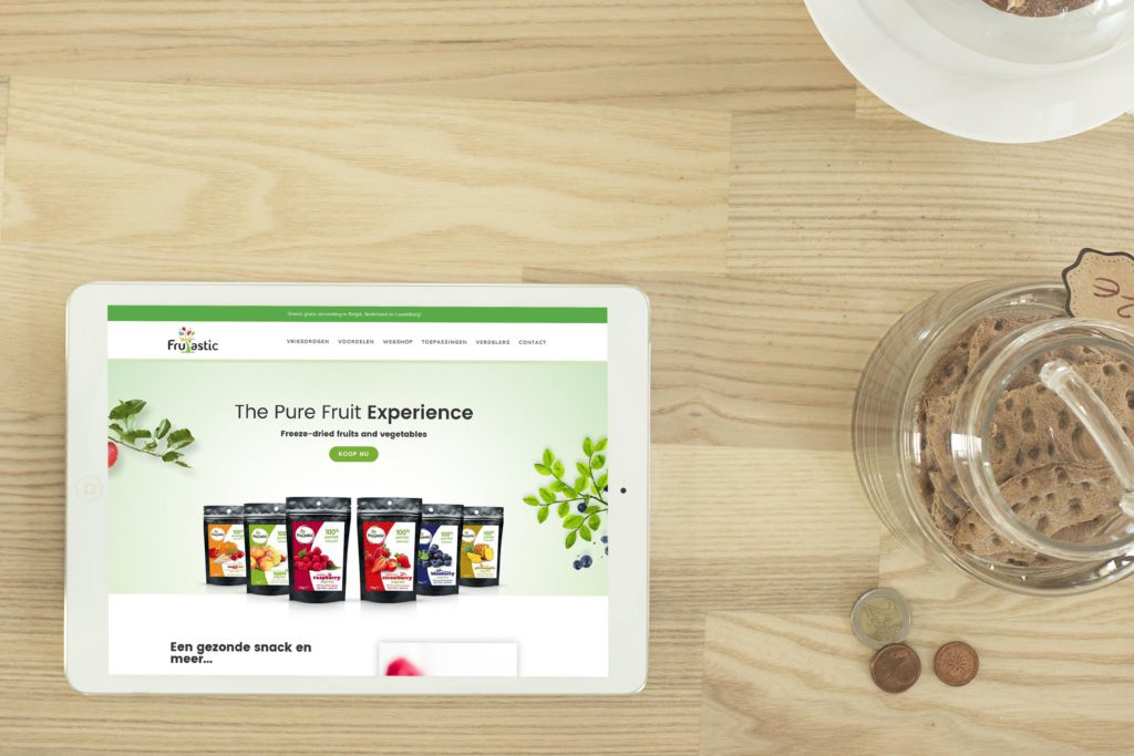 Frutastic website op een tablet