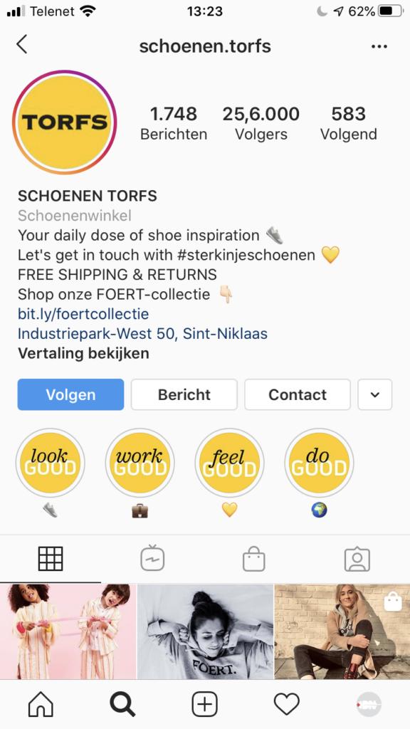 Bedrijfsprofiel Instagram Trofs