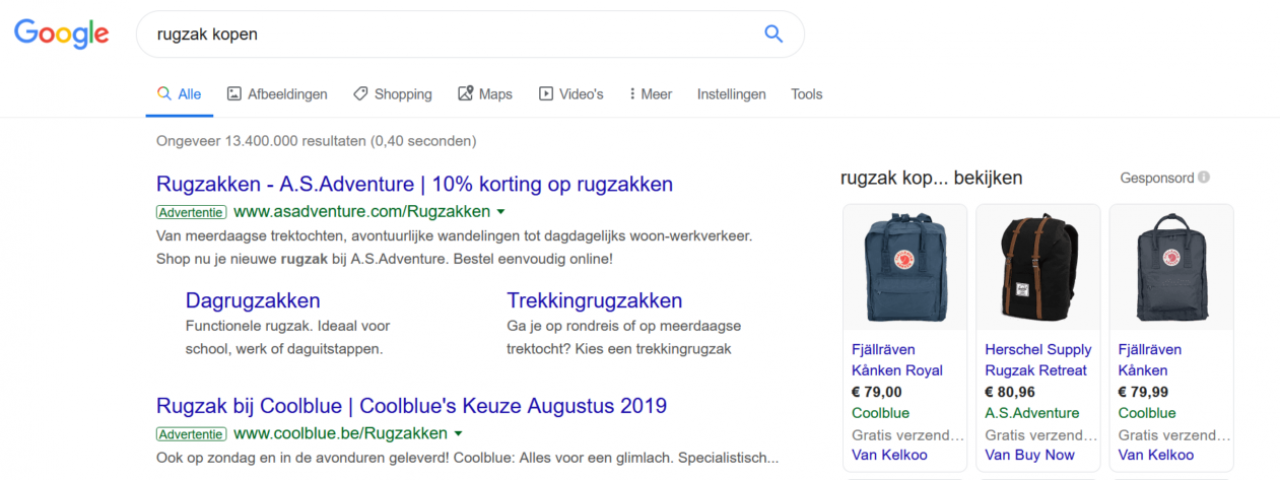 Voorbeeld van een Google ad bovenaan de zoekresultaten